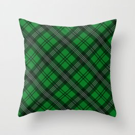 Scottish Plaid (Tartan) - Green Throw Pillow