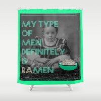ramen Shower Curtains featuring ramen lover by AmDuf