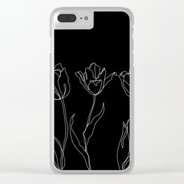 Floral line drawing - Three Tulips Black Clear iPhone Case