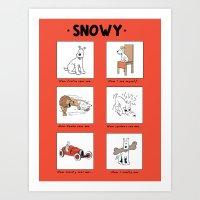 meme Art Prints featuring Snowy Meme by Rafstar Designs