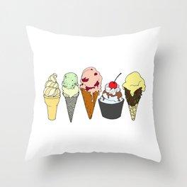 5 Ice Creams Throw Pillow
