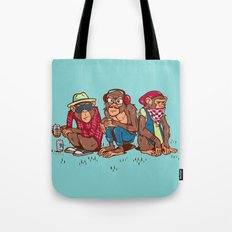 Three Wise Hipster Monkeys Tote Bag