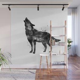 Watercolor Wolf - Black Wall Mural