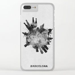 Barcelona, Spain Black and White Skyround / Skyline Watercolor Painting Clear iPhone Case