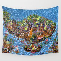 bali Wall Tapestries featuring Bali Map Art Painting  by Rothko