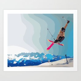 Man jumps with skies on piste with mountains and sky background Art Print