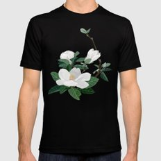 Magnolia Flowers MEDIUM Mens Fitted Tee Black