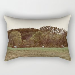 Three Lonely Haybales Rectangular Pillow