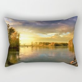 Autumn Foliage and Sunrise along the riverside landscape Rectangular Pillow