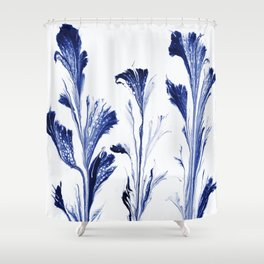 Painted Flowers In Blue Shower Curtain
