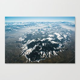 Aerial mountain panorama of swiss alps Canvas Print