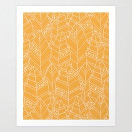 Leaves Pattern - Warm Mustard Art Print