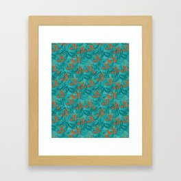 Pattern with red water flowers on turquoise green background Framed Art Print