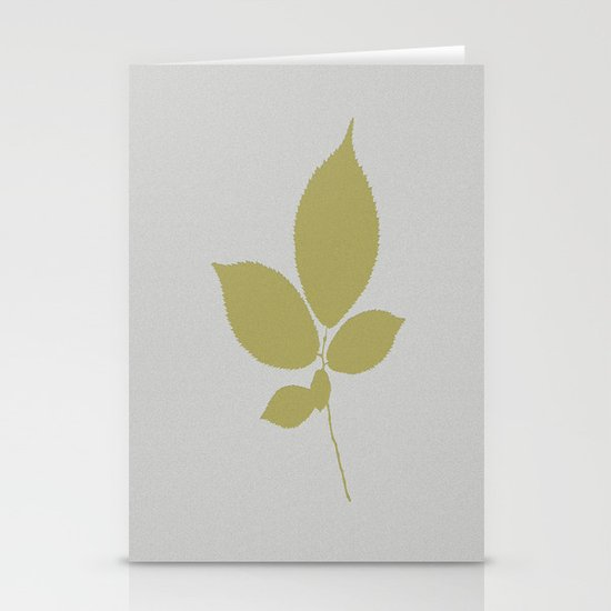 Vert et feuille d'or Stationery Cards
