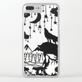 Foxes in moonlight Clear iPhone Case