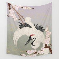 crane Wall Tapestries featuring Japanese Crane by Luna Kirsche