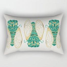 Cicada – Green & Gold Rectangular Pillow