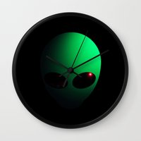 alien Wall Clocks featuring Alien by Nicklas Gustafsson