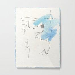 Zen Dog Angel Devil Blue and White Minimalist Gesture Drawing Painting Metal Print