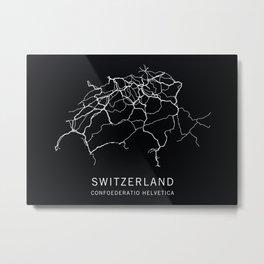 Switzerland Road Map Metal Print