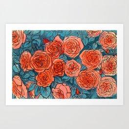 Garden Roses Red Blue Floral Art Pastel Ink  Art Print