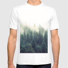 Foggy Winter Forest MEDIUM Mens Fitted Tee White