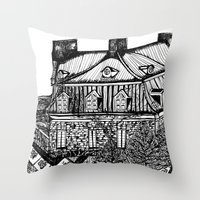 copenhagen Throw Pillows featuring Copenhagen by intermittentdreamscapes