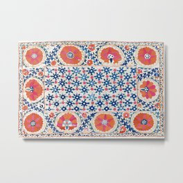Bokhara Nim Suzani Southwest Uzbekistan Embroidery Print Metal Print