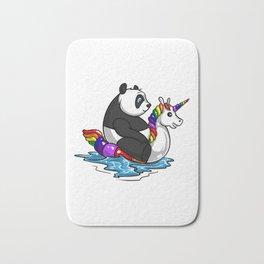 Panda Bear Riding Unicorn Float Pool Party Bath Mat