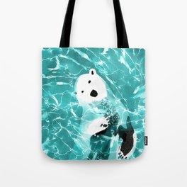 Playful Polar Bear In Turquoise Water Design Tote Bag