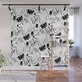 Black white hand drawn wolf floral typography Wall Mural