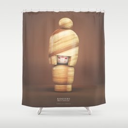 wooden Kokeshi Shower Curtain
