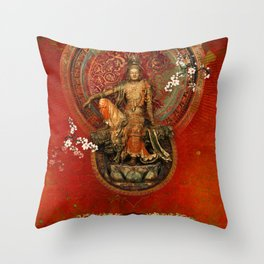 Kwanyin on Red Throw Pillow