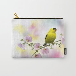 Digital Painting of  American Goldfinch  on the flowers Carry-All Pouch