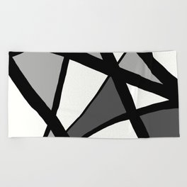 Geometric Line Abstract - Black Gray White Beach Towel