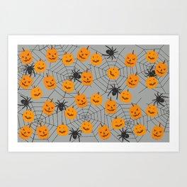 Hallween pumpkins spider pattern Art Print