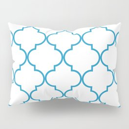 Quatrefoil - Cerulean on White Pillow Sham
