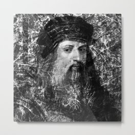 LEONARDO DA VINCI (BLACK & WHITE VERSION) Metal Print
