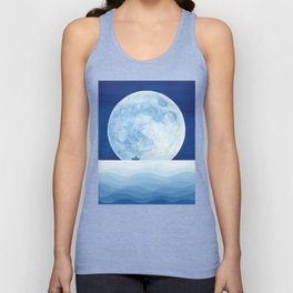 Full moon & paper boat Unisex Tank Top