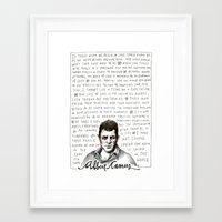 camus Framed Art Prints featuring Camus on Happiness and Love by wendy macnaughton