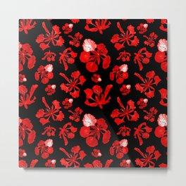 Striking Black Red and White Poinciana Print Metal Print
