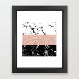 Modern black white marble rose gold color block stripes pattern Framed Art Print