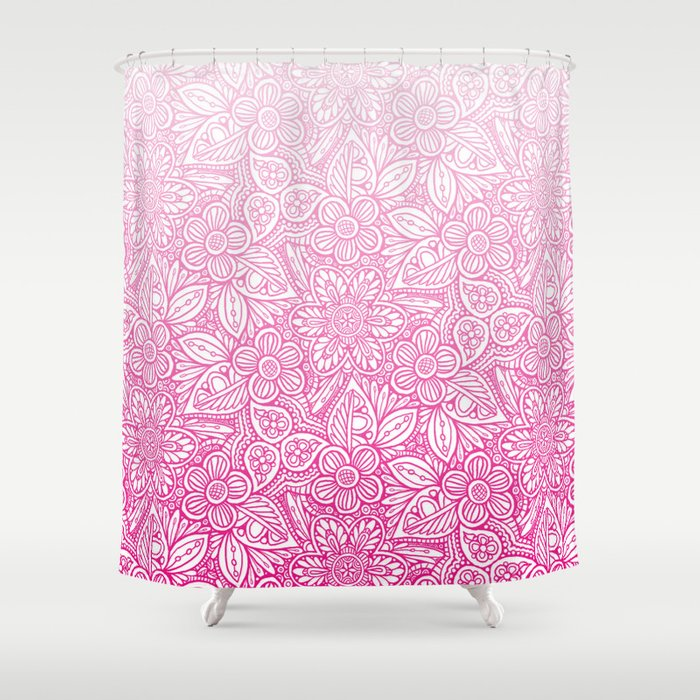 Flower Power Pattern Pink Shower Curtain