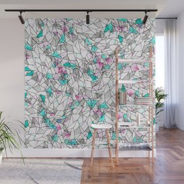 Pink and Teal Abstract Watercolor and Geometric Wall Mural