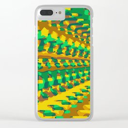 green yellow and brown painting geometric graffiti abstract background Clear iPhone Case