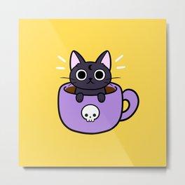 Happy Coffee Cat Metal Print