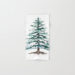 pine tree covering with snow Hand & Bath Towel