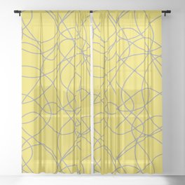 Abstract Hand Drawn Mosaic Pattern Pantone 2021 Color Of The Year Illuminating Ultimate Gray Sheer Curtain