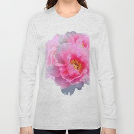 PINK & WHITE PEONY GARDEN FLOWER Long Sleeve T-shirt