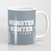 monster hunter Mugs featuring Monster Hunter All Stars - The Kotoko Upswings  by Bleached ink